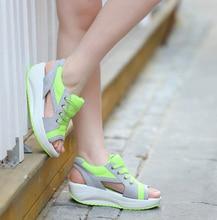 2016 Fashion Summer Women's Sandals Casual Sport Mesh Breathable Shoes Women Comfortable Wedges Sandals Lace Platform Sandalias