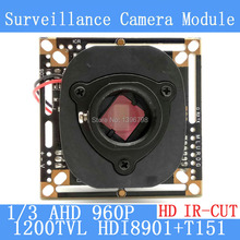 1.3MP 1280 * 960 AHD 960P Camera Module Circuit Board 1/3 1200TVL CMOS HDI8901+T151 PCB Board + HD IR-CUT dual-filter switch