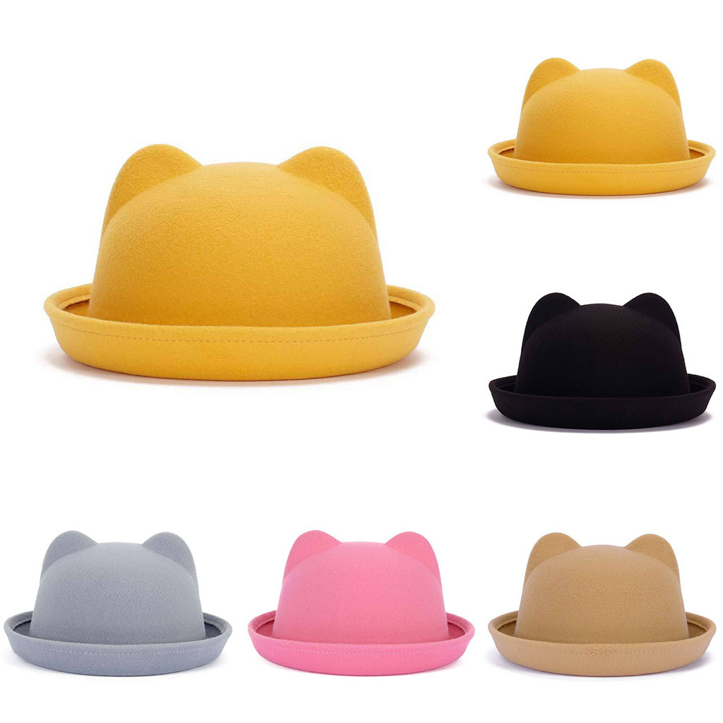 Women's Top Hat Can Crush Wool Felt Inland Cap Cute Cat Design Hat Simple And Generous Z119 To Ensure A Like-New Appearance Indefinably