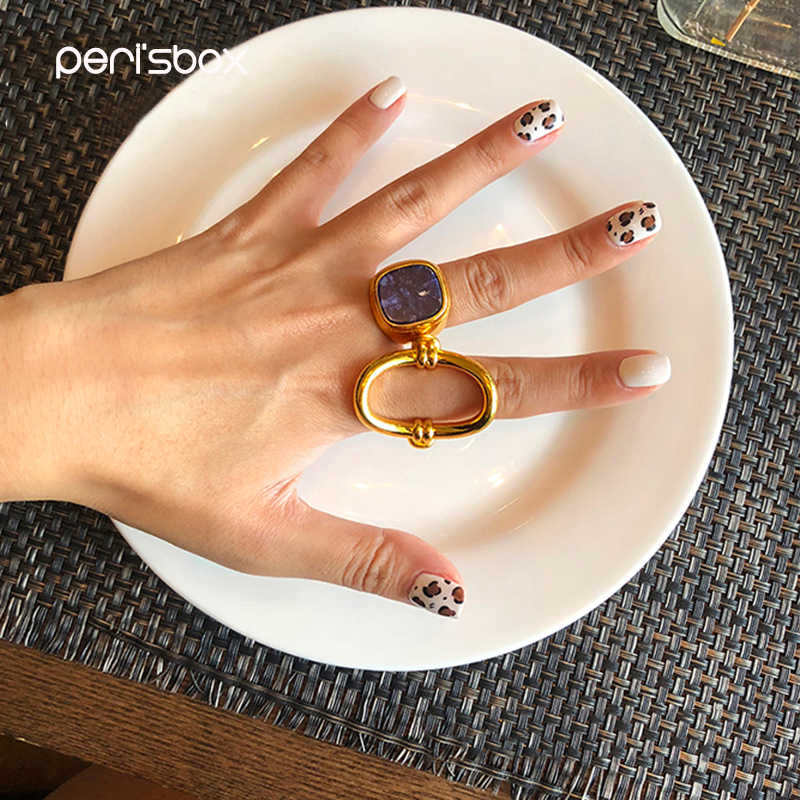 Peri'sBox Gold Color Metal Lapis Lazuli Rings for Women Simple Geometric Hollow Rings Stackable Statement Ring Gift for Her