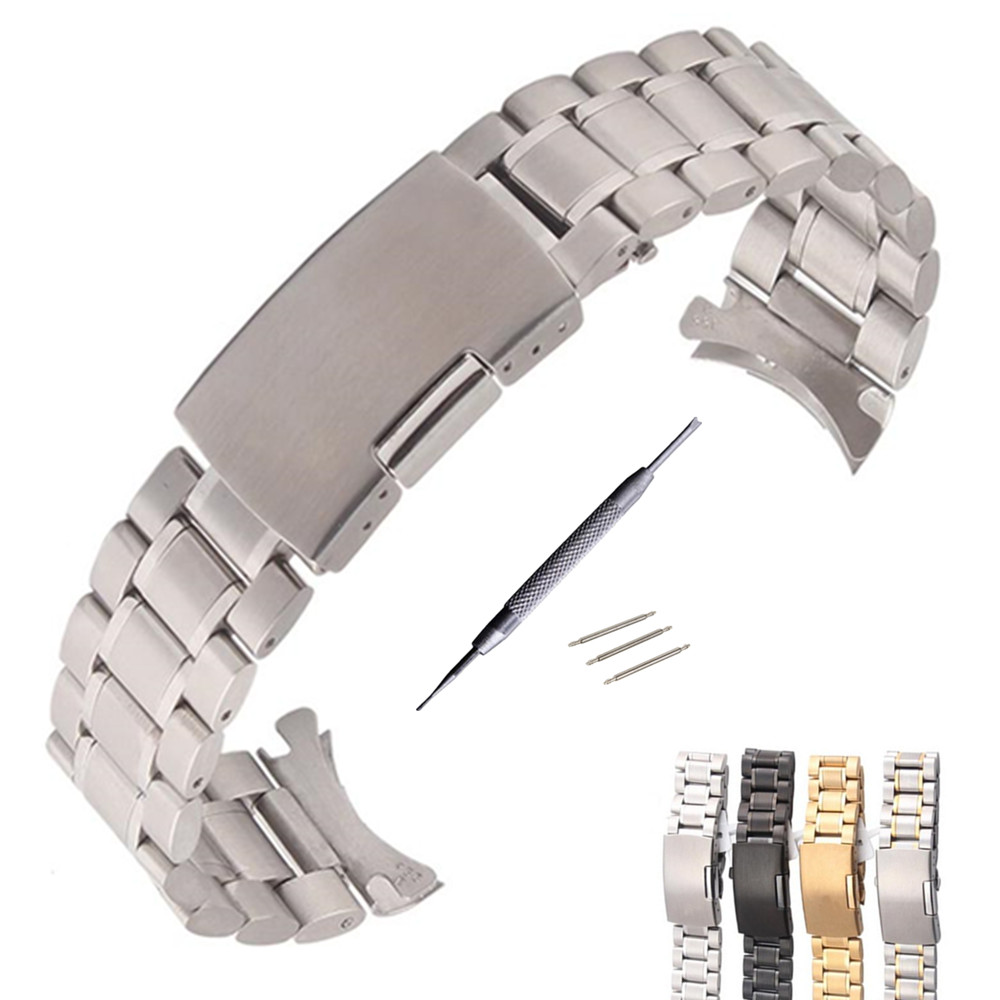 Silver /Gold / Goldsmith Stainless Steel Solid Links Watch Band Strap Bracelet Curved End / Arc Degree 18 20 22 mm strap