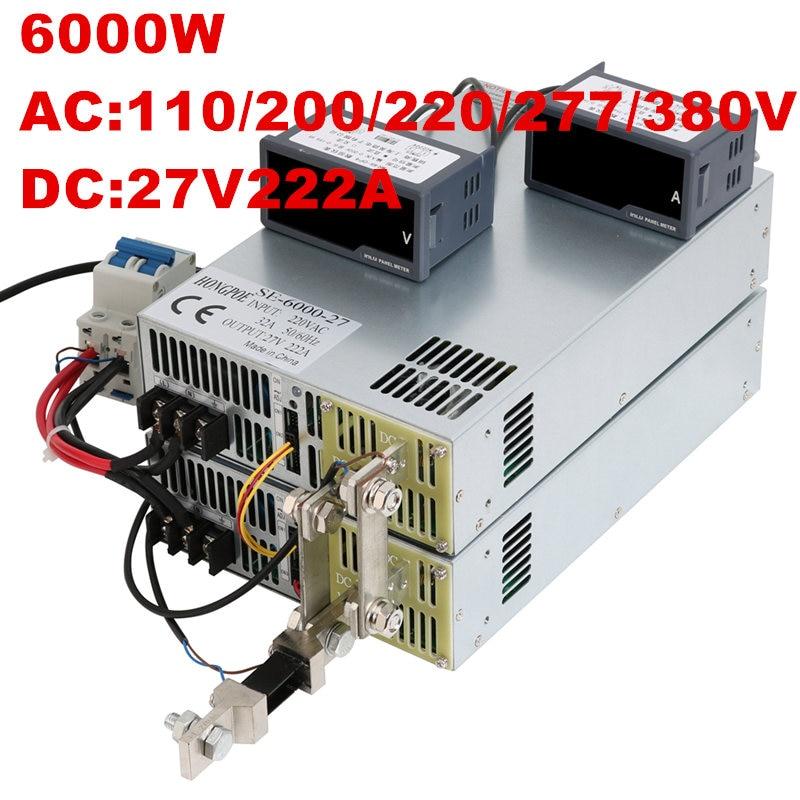 где купить 6000W 27V 222A 0-27V power supply AC-DC High-Power PSU 0-5V analog signal control DC27V 222A 110V 200V 220V 277VAC 380VAC дешево