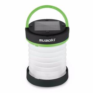 Suaoki Solar Panel 800mAh Torch and USB Rechargeable Lantern Flashlight Collapsible Light Waterproof for Camping Hiking Green