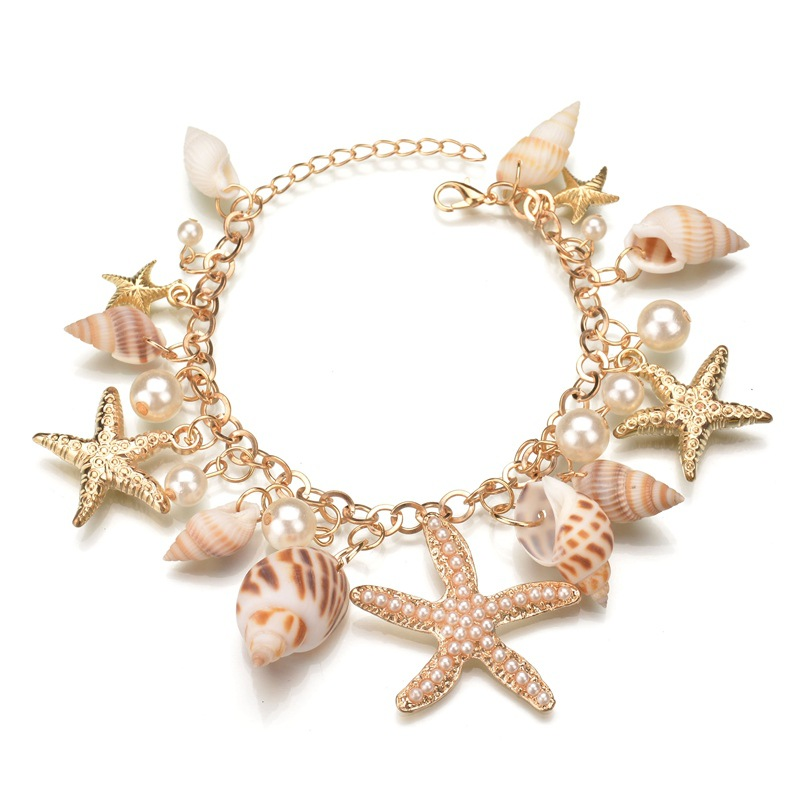 OLOEY Fashion Bohemian Style Bracelet For Women Pearl Alloy Sea Star Shell Hand Chain Summer Jewelry Bracelet Gifts