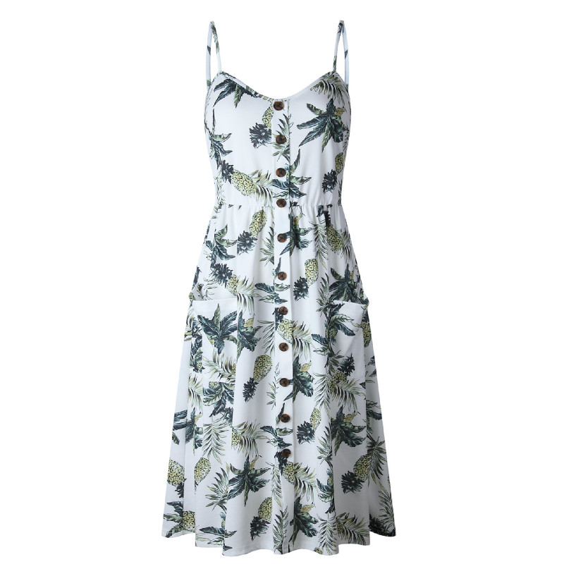 2019 New Spring Summer Women Sleeveless Sexy Bohemian Long Dress Floral Print Spaghetti Strap Sundress Beach Dress in Dresses from Women 39 s Clothing