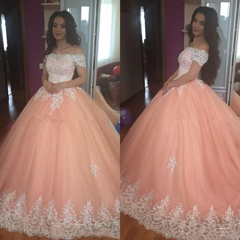 Sweet 16 Peach Quinceanera Dresses Off Shoulder Tulle Appliques Puffy Corset Back Ball Gown Princess Formal Prom Party Gowns