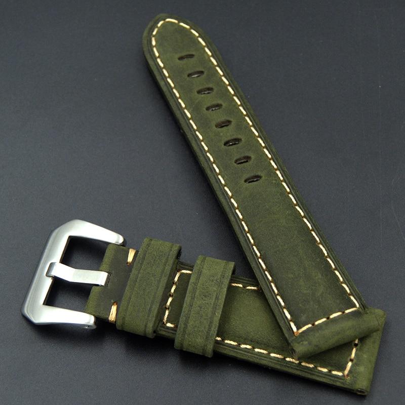 Купить с кэшбэком 22mm 24mm Genuine Leather thick Handmade Buckle Watch Band Retro Watch Straps for Panerai Omega Seiko Watch Bracelet Wristband
