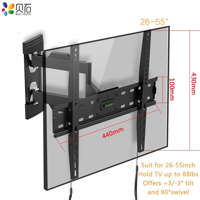 Full Motion TV Wall Mount Bracket Tilt Swivel TV Quadro Montagem Encaixa A Maioria Dos 26-55 Polegada LED LCD de TELA Plana tela até 88lbs VESA 400x400mm