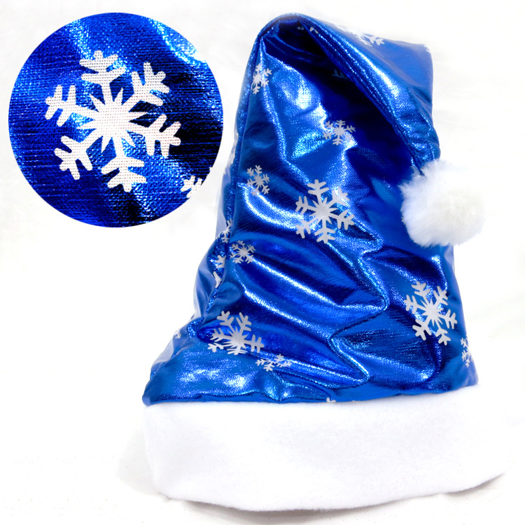 Christmas Santa Claus Hats Bright Cloth Blue Caps For Adult And Kids XMAS Decor Wholesale New Year's Gifts Home Party Supplies