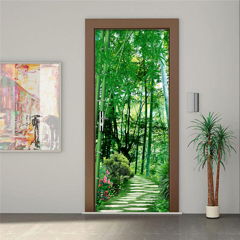 Custom Wallpaper Chinese Style Bamboo Path Door Mural Living Room Bedroom Home Decor Wall Sticker Waterproof Vinyl Wallpaper 3 D dsu retro door mural bedroom door home decor wall sticker