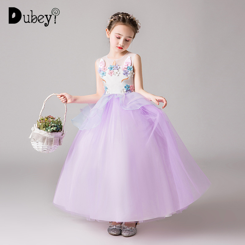 Flare Sleeve Animated Print Pearl Beads Princess Girls Dress Party Kids Clothes