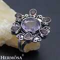 HERMOSA Jewelry Fashion Retro Purple Amethyst 925 Sterling Silver Charm Ring Size 8 HF927