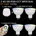 4x Mi.Light 4W RGB + CCT MR16 LED Bulb Spotlight AC/DC 12V FUT104 +1x WiFi iBox1 Lamp +1x 2.4G Wireless RF 4-Zone Touch Remote