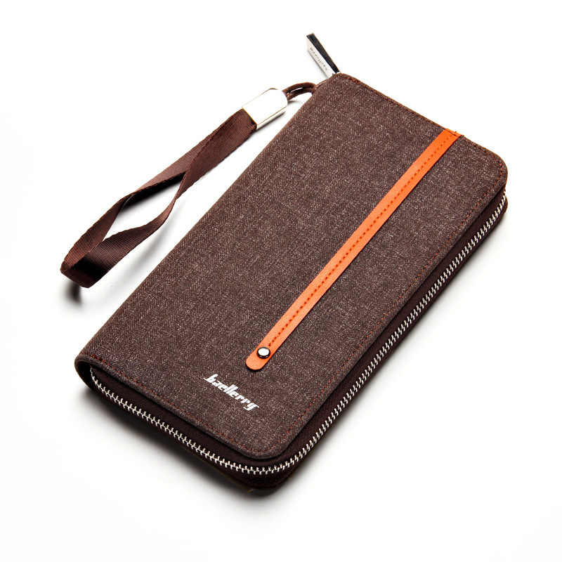 Nieuwe Ontwerper Canvas Man Portemonnee Merk Baellerry Mannen Portemonnee Lange Clutch Card Purse Voor Man Mode Telefoon Tas met Coin Pocket