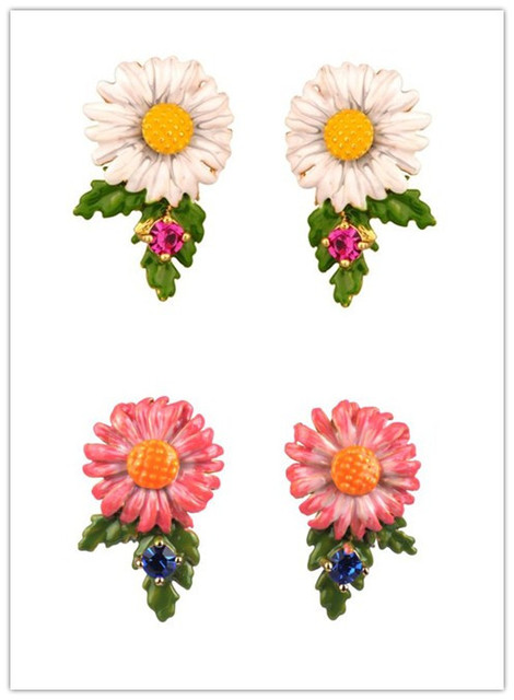 European fashion jewelry  les nereides daisy gold Plating stud earrings party jewelry  -Free Shipping