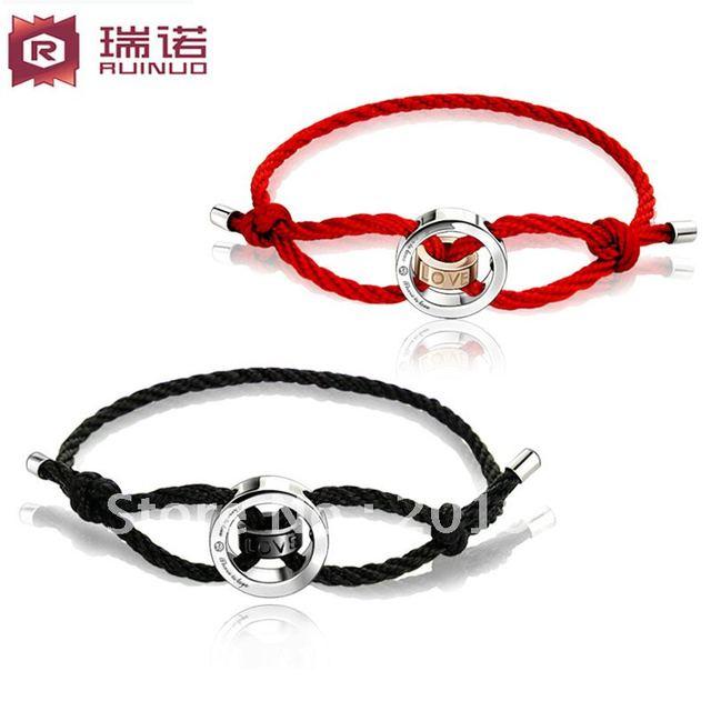 O envio gratuito de moda amantes titanium bracelete vermelho/preto pulseira corda mão-corda ajustável