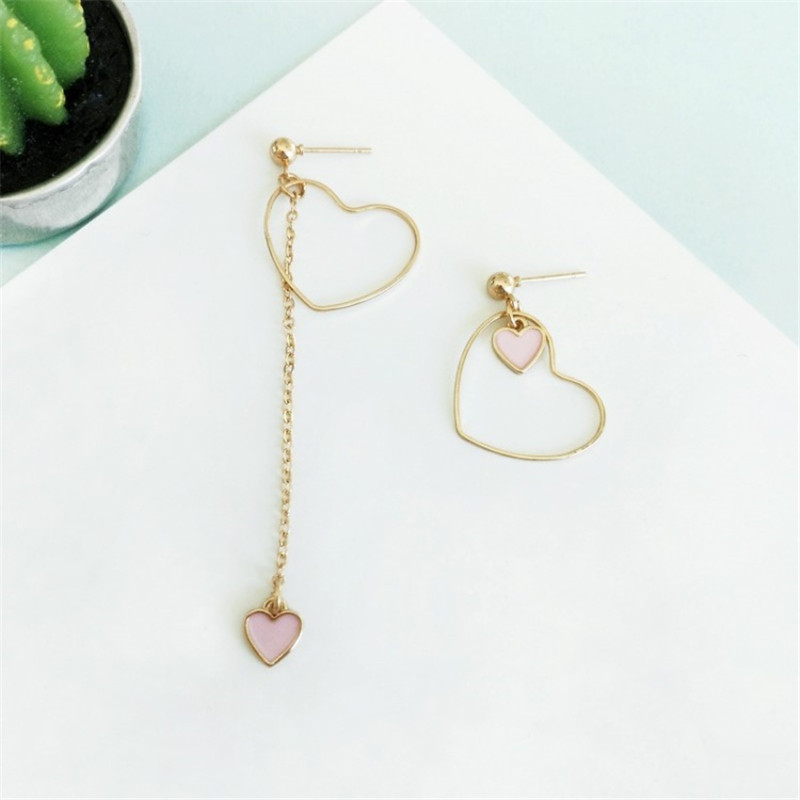 Heart-Shaped Earrings Japanese And Korean Girls Love Personality Fashion Wild Asymmetric Pendant Ear Clip Wholesale 3