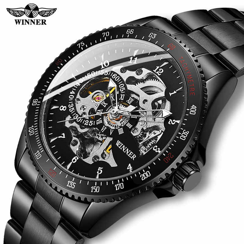 Drop shipping Men Automatic Mechanical Watches Winner Men Black Stainless Steel Watches Fashion Skeleton Steampunk Male Clocks