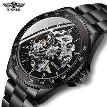Drop shipping mężczyźni automatyczny zegarek mechaniczny zwycięzca mężczyźni czarne zegarki ze stali nierdzewnej moda szkielet Steampunk męskie zegary tanie tanio T-WINNER Składane zapięcie z bezpieczeństwem 3Bar Automatyczne self-wiatr 21cm Moda casual Okrągły Papier 22mm Mechaniczne Zegarki Na Rękę