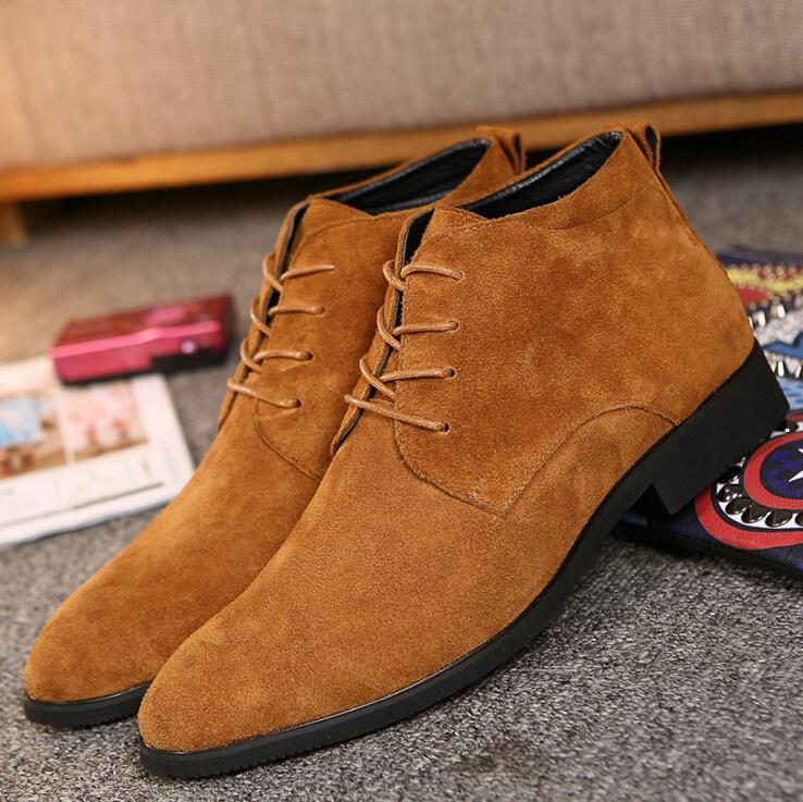 New Winter Men Boots High Quality Genuine Leather Men Ankle Boots British Style Solid Lace-up Men Motorcycle Boots