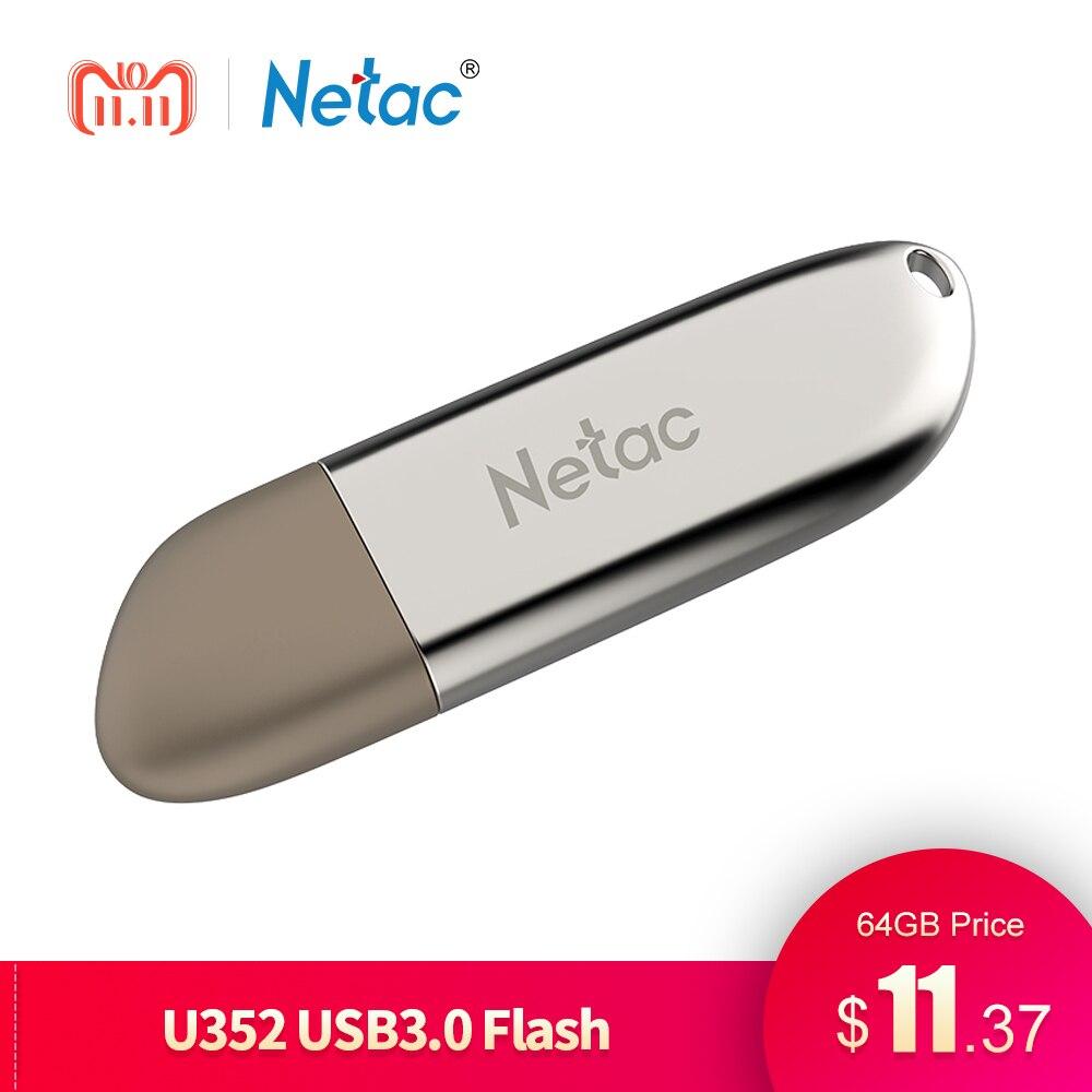 Netac USB 3.0 Stick Zinc Alloy Flash Drive Creative Encrypted Pen Drive 16GB 32GB 64GB 128GB Pendrive U352 16 32 64 128 GB Disk цена и фото