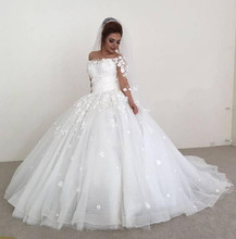Princess Ball Gown Wedding Dresses With Veil 3/4 Sleeves Off Shoulder 3D Flowers Plus Size Arabic African Vestido De Novia Bride