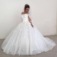 5e895eaa65 Vestido De princesa vestidos De Novia con velo 3 4 mangas hombro 3D flores  Plus tamaño árabe africano Vestido De Novia novia
