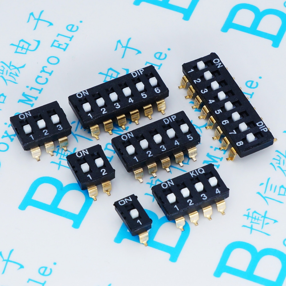 5PCS YT2170B Black Plucking number sign switch 1/2/3/4/5/6/8P Pitch 2.54MM gold-plated toggle switch SMD Switch Free shiping
