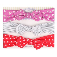 3pcs/set Baby Headband Cartoon Printing Bow Cotton Headwear Boy Girl Beanie Spring Autumn Winter Childrens hair accessories V02