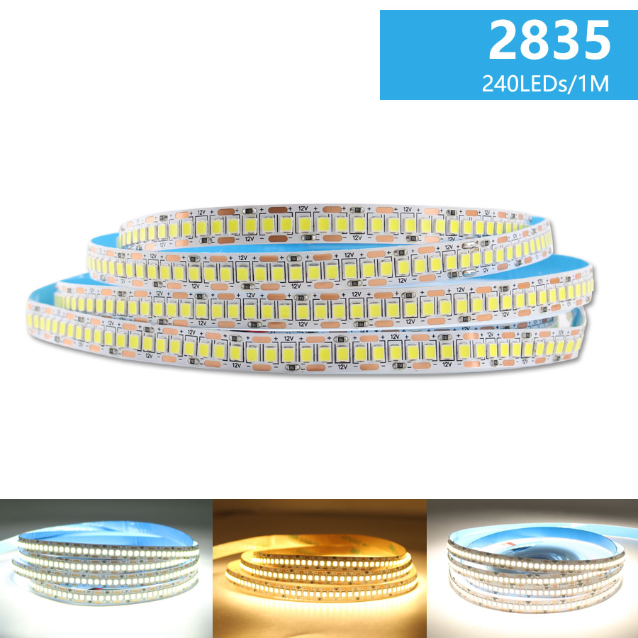 DC 12V LED Strip Light SMD 2835 Waterproof LED Strip AC 220V 5m 60Leds 120Leds 240Leds 12 V Lamp Tape Flexible Tape Ribbon Lamp