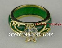 Free Shipping P P Chinese Real Natural Rare Pretty Green Jade Gem 18KGP Dazzle Crystal