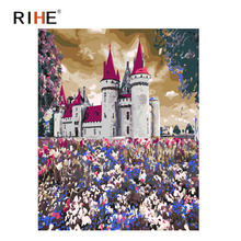 RIHE Purple Castle Diy Painting By Number Abstract World Oil On Canvas Cuadros Decoracion Acrylic Wall Picture For Room