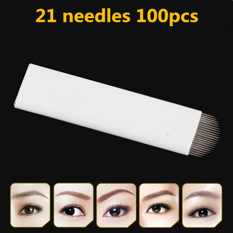 Hot 50pcs 18 u needles Shape Permanent Makeup Eyebrow Embroidery Blades For 3D Microblading Manual Tattoo Needles 3