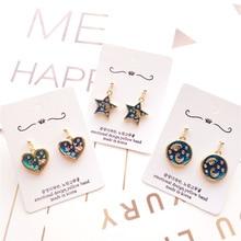 Korea Handmade Vintage Cartoon Fairy Star Moon Heart Women Drop Earrings Dangle Fashion Jewelry Accessories-JQD5