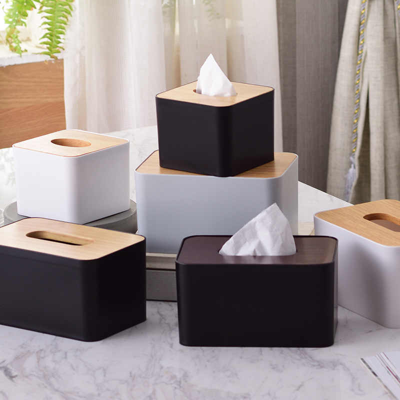 Japan Style Wood Cover Paper Towel Box Tissue Box with Solt for Phone Creative Household Dining Room Table Storage Box