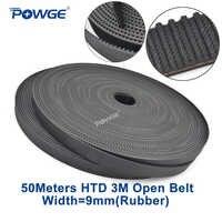 POWGE Arc Tooth HTD 3M timing belt 3M-9mm width 9mm Length 50000mm Rubber Fiberglass HTD3M open Synrhonous belt Pulley 50Meters