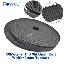 POWGE Arc Tooth HTD 3M timing belt 3M 9mm width 9mm Length 50000mm Rubber Fiberglass HTD3M open Synrhonous belt Pulley 50Meters