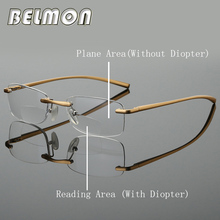 Bifocal Reading Glasses Men Women Rimless Aluminum-magnesium Frame Diopter Presbyopic Eyeglasses +1.0+1.5+2.0+2.5+3.0+3.5 RS341 2017 newest k6 business bluetooth earphone headphones stereo wireless handsfree car driver bluetooth headset with storage box