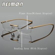 Bifocais Óculos de Leitura Das Mulheres Dos Homens Sem Aro Moldura De  Alumínio-magnésio Óculos de Dioptria Presbiopia + 1.0 + 1. cf7efe77d7