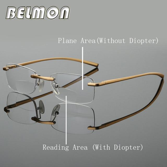 Bifocal Reading Glasses Men Women Rimless Aluminum-magnesium Frame Diopter Presbyopic Eyeglasses +1.0+1.5+2.0+2.5+3.0+3.5 RS341