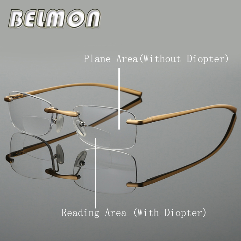 Bifocal Reading <font><b>Glasses</b></font> Men Women Rimless Aluminum-magnesium Frame Diopter Presbyopic Eyeglasses +<font><b>1.0</b></font>+1.5+2.0+2.5+3.0+3.5 RS341 image