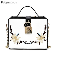 New Simple Embroidery Bag Exquisite Flower Lock Women Tote Bag Box Shoulder Crossbody Bag Lady Clutch