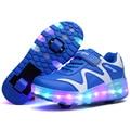 NOVO 2016 Crianças QUENTES Sapatos Rodas Com LED Iluminado PU Roda de Rolo Crianças Sapato de couro Menino & Meninas Moda Casual Sneakers