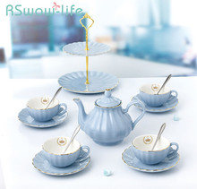 10Pcs Ceramic Tea Set Simple Creative Flower Teapot Cup Ceremony For Household Goods