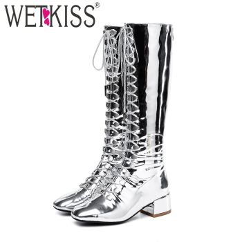 WETKISS Winter Thick Med Heels Chunky Women Boot Square Toe Cross Tied Footwear Patent Leather Female Boot Knee Shoes Woman 2020