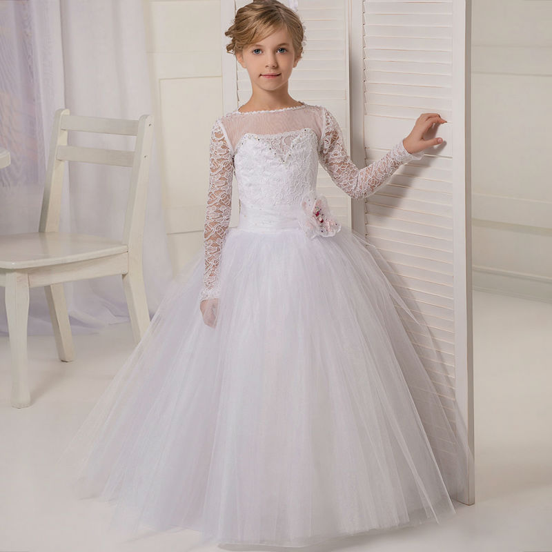 Long  Flower Girls Dresses For Wedding Gowns Satin Glitz  Pageant Dresses for Little Girls Lace Girls Clothes