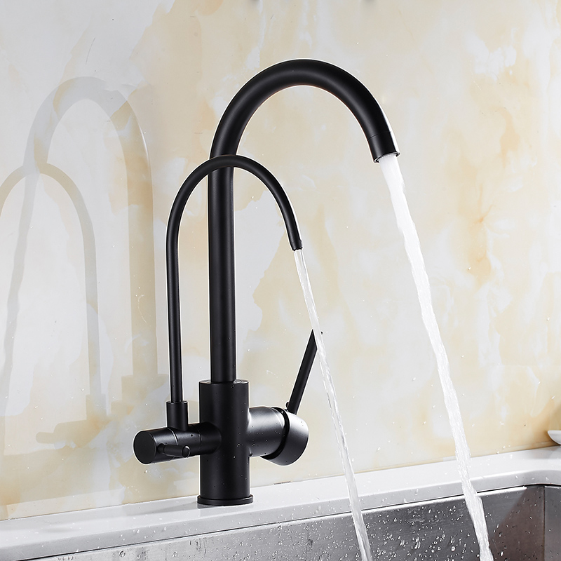 Chrome/Black Kitchen Faucet Solid Brass Crane For Kitchen Deck Mounted Water Filter Tap Sink Faucet Mixer 3 Way Kitchen Faucet цена