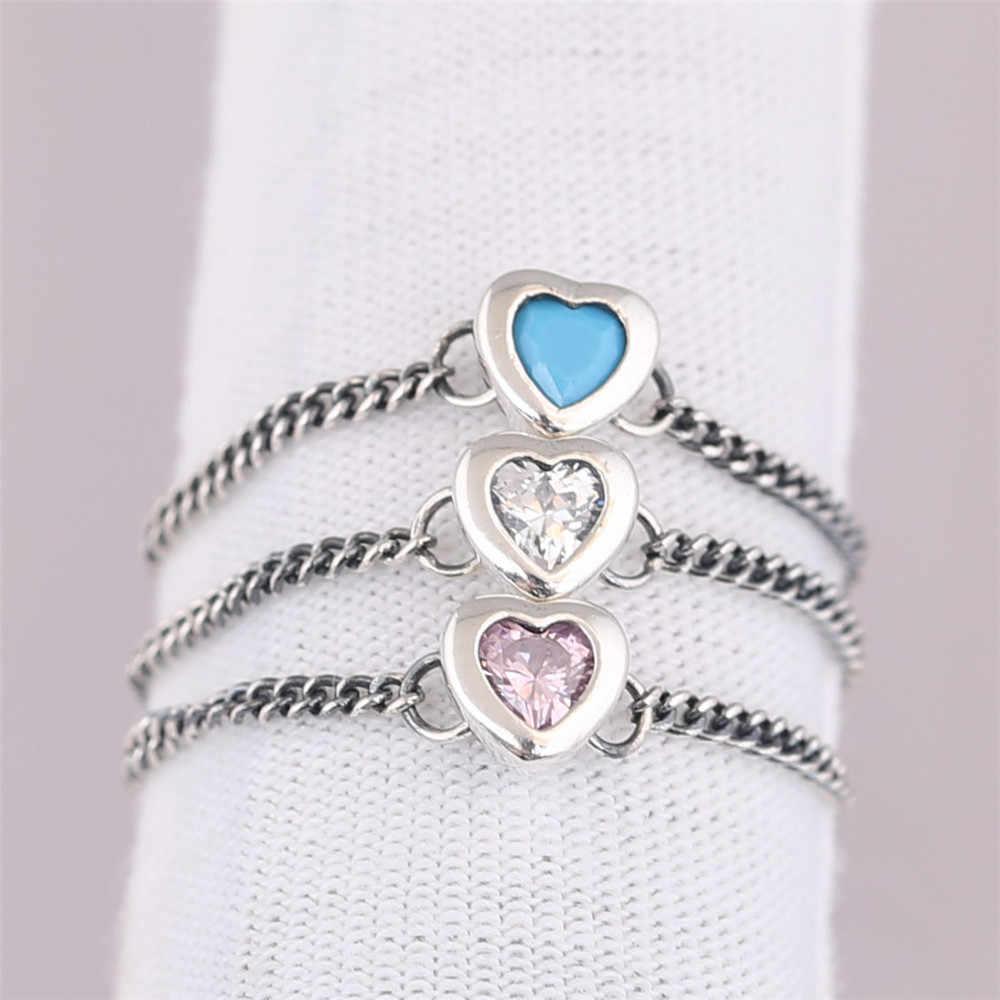 2f175140d947c 2018 Summer New Spirited Heart Ring, Cyan Blue Crystal Pink Clear CZ ...