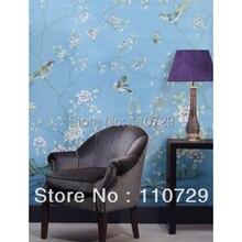 Ручная роспись шелковые обои ручная роспись настенная бумага картина деревья пион цветы с птицами много фотографий фоны по желанию