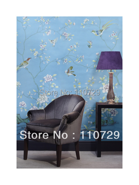 Hand-painted silk wallpaper hand painted wall paper painting trees peony  flowers with birds many pictures backgrounds optional home decoration hand painted silk wallpaper hand painted painting plant with birds flowers many pictures backgrounds optional